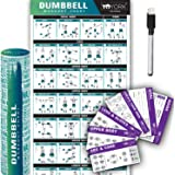 "YoYork Workout Posters for Dumbbell Training - Laminated Home Gym Workout Poster with 10 Workout Cards for Free Weight, Body Building Exercise - 17"" x 45"""