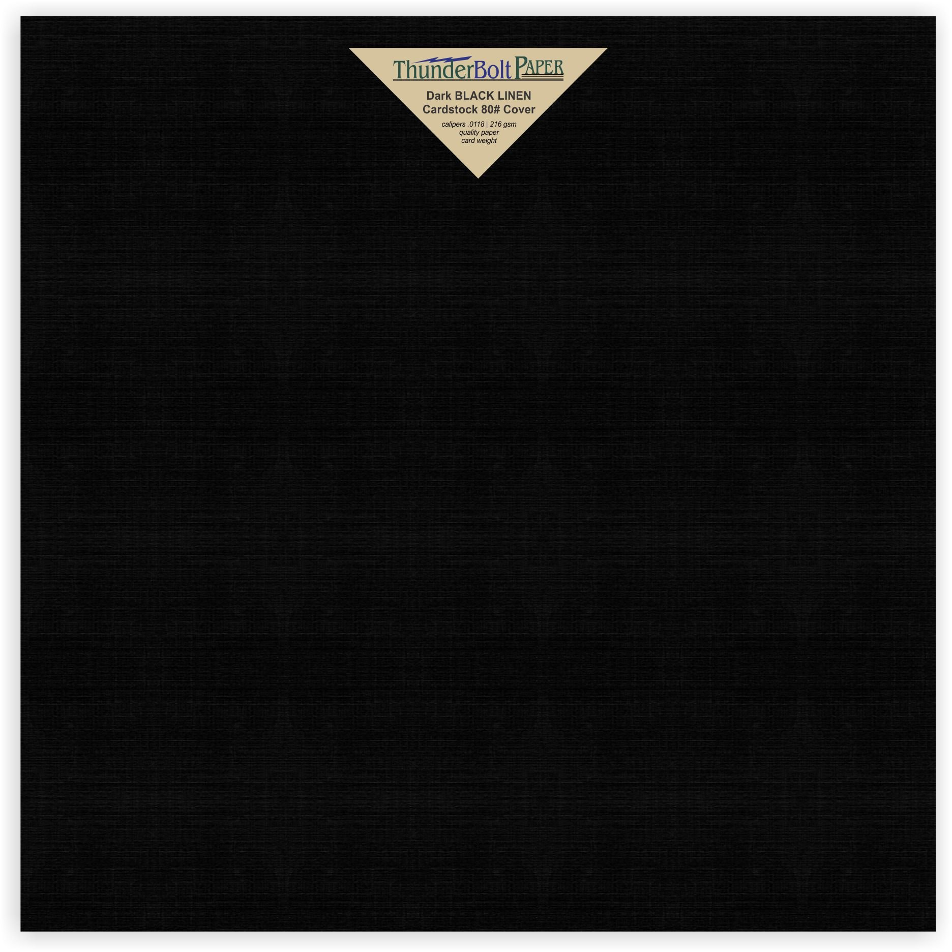50 Black Linen 80# Cover Paper Sheets - 12'' X 12'' (12X12 Inches) Scrapbook Album|Cover Size - Card Weight - Deep Dye, Fine Linen Textured Finish - Quality Cardstock