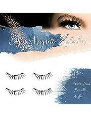 ESSISO - Magnetic Fake Eyelashes Soft False Eyelashes with 3 Connecting Magnets (No Glue Cover the Entire Eyelids) - Natural Look (4 PCS)