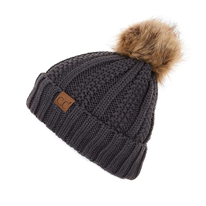 b27c98fd91a C.C Exclusives Fuzzy Lined Knit Fur Pom Beanie Hat (YJ-820) (Dk. Mel Grey)   Amazon.co.uk  Clothing