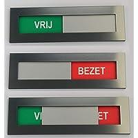 Vrij Bezet bordje met dubbelzijdig tape - Acrylaat Kunststof - vrij bezet bordje sign vrij niet storen schuifpaneel…