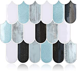 "HomeyMosaic Peel and Stick Backsplash Tile 3D Wall Silica Gel Vinyl Tiles for Home Decor, Stick on Kitchen Bathroom Back Splashes(5-Sheet,11""x10"",Fish Scale Blue)"