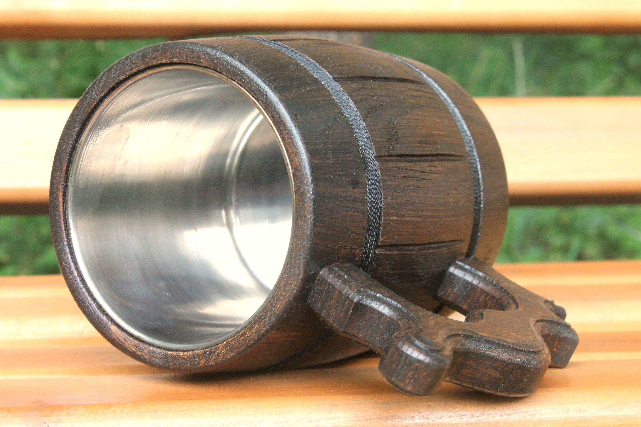 Wooden Beer Mug Eco-Friendly 20oz 0.6L Stainless Steel Cup Men Brown Wood Tankard Wedding Gift Beer Mug by WorldMaker   Exclusive Handmade goods (Image #2)