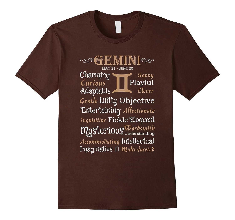 Gemini Zodiac Traits Word Cloud Charming Curious T-Shirt