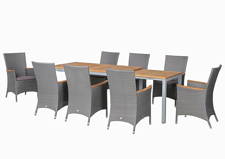 17-teilige XXL Luxus Aluminium Teak Polyrattan Geflecht Gartenmöbelgruppe Hermosa , 8 Diningsessel, 8 Auflage und ein Ausziehtisch Tifosi 160/280x90, silber - titan