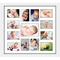 Elegant Baby First Year Picture Frame Multi Picture First Year by Month First Birthday Gift Memory Size 15.6 L x 16.7 W…