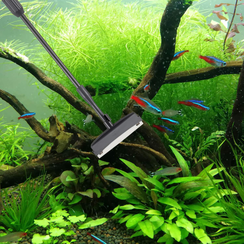 Hygger Kit de limpieza de acuario 6 en 1 para acuario, para pecera, rastrillo de grava, rascador de algas,cepillo, juego de herramientas de esponja: ...