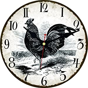 ShuaXin Vintage Country Black Rooster 12 Inch Wall Clock,Shabby Chic Rustic Home Decor Room Decorative Wall Clock,Antique Kitchen Non Ticking Wall Clock