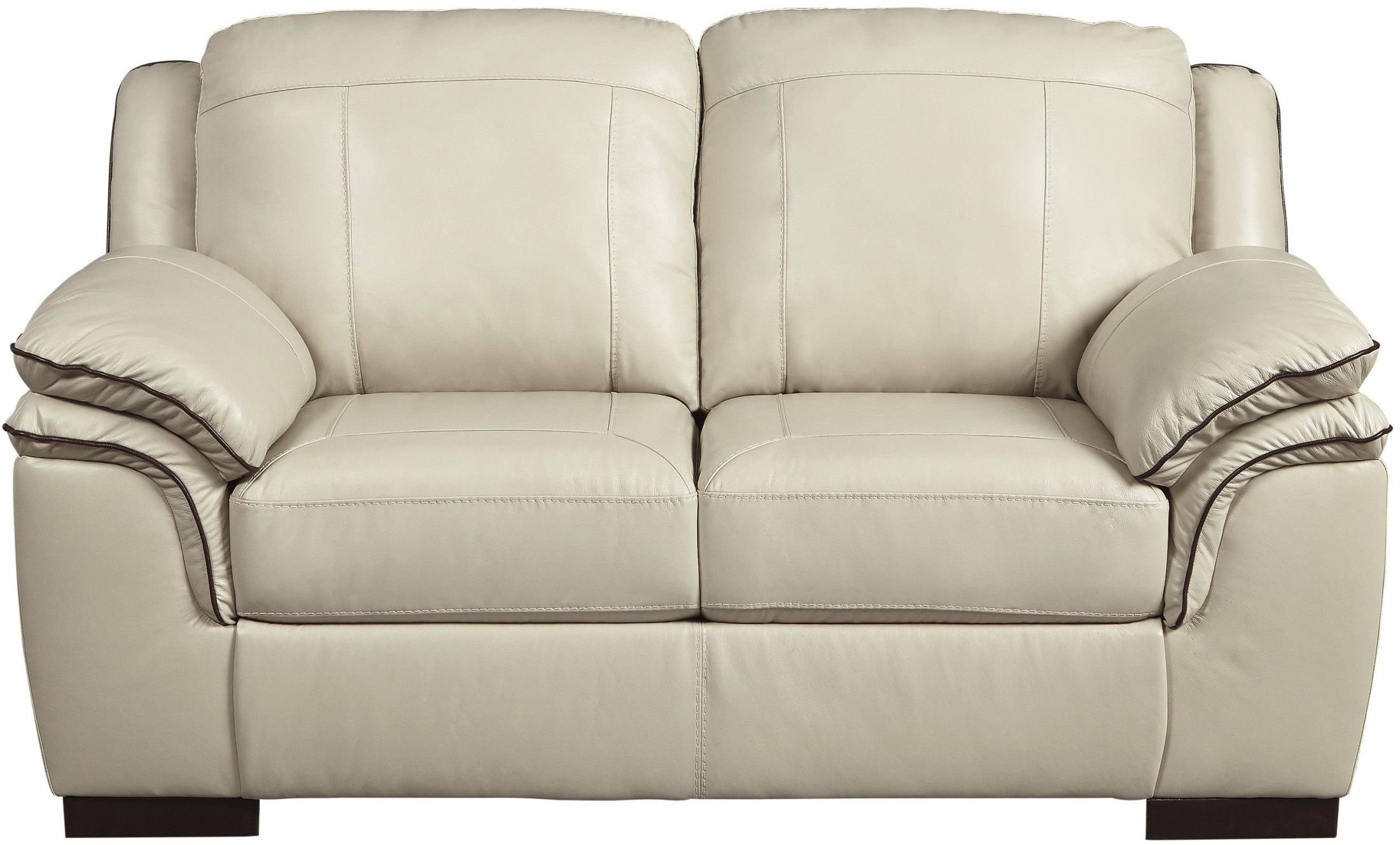Ashley Islebrook Collection 1520435 70'' Loveseat with Jumbo Stitching Double Pillow Top Arms Hardwood Construction and Leather Upholstery in Vanilla