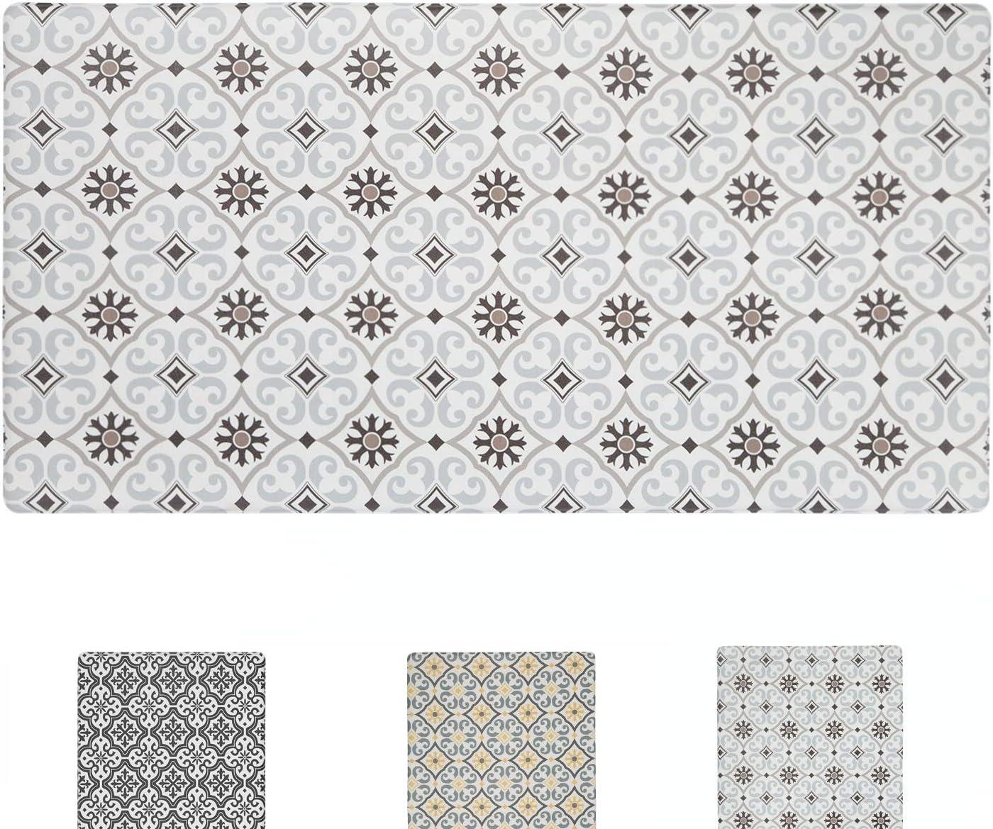 QSY Home Kitchen Anti Fatigue Floor Mats 20x39x1/2-Inch Comfort Standing Rugs for Laundry Bath Room Pvc Foam Bevel Edges Non-Slip Waterproof Mats, Grey/Brown