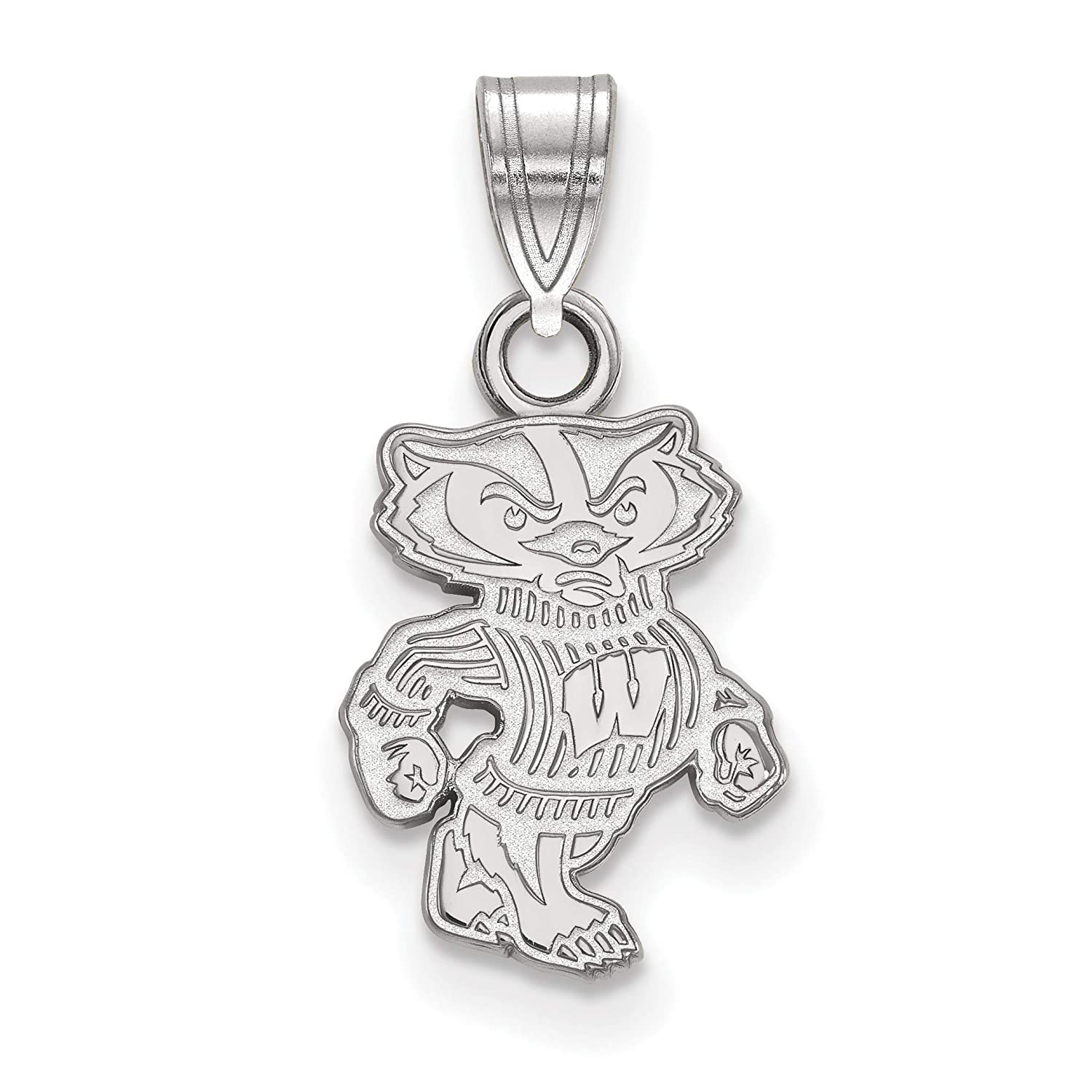 University of Wisconsin Badgers Bucky Mascot Pendant in Sterling Silver 15x10mm
