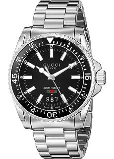 16ff4fd2a42 Gucci Dive Analog Display Swiss Quartz Silver-Tone Men s Watch (Model YA136301)