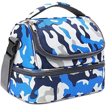 Flowfly Double Decker Cooler Insulated Lunch Bag Kids Lunch Box Large Tote For Boys Girls Men Women With Adjustable Strap Blue Camo