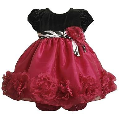 5b42c26d138c Amazon.com  Baby Girls 3M-24M Fuchsia Black Velvet Organza Rosette ...