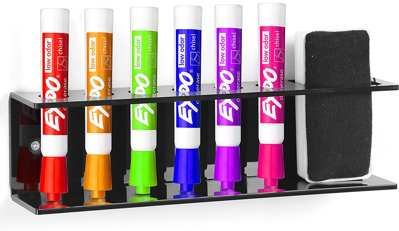 Black Acrylic Wall Mountable 6 Slot Dry Erase Marker /& Eraser Holder Organizer Rack MyGift/®