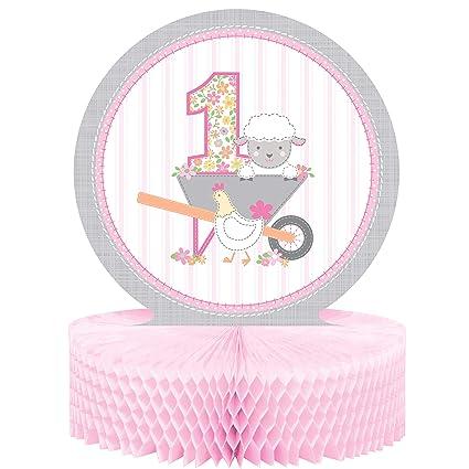 Amazon.com: Farmhouse 1er cumpleaños niña centro de mesa, 1 ...