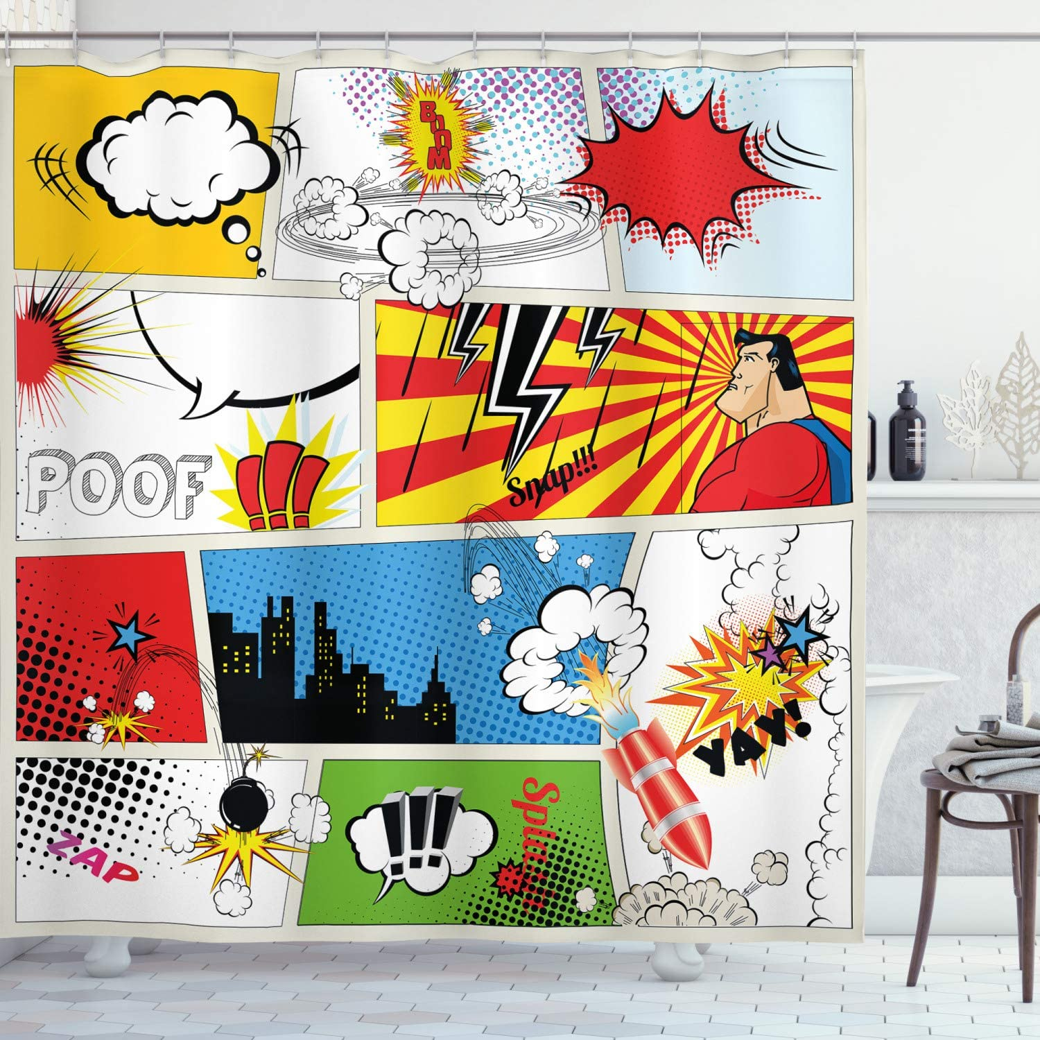 """Ambesonne Superhero Shower Curtain, Comics Template Fiction Fantasy Retro Speech Bubbles Expressions Effects Print, Cloth Fabric Bathroom Decor Set with Hooks, 84"""" Long Extra, Yellow Red"""