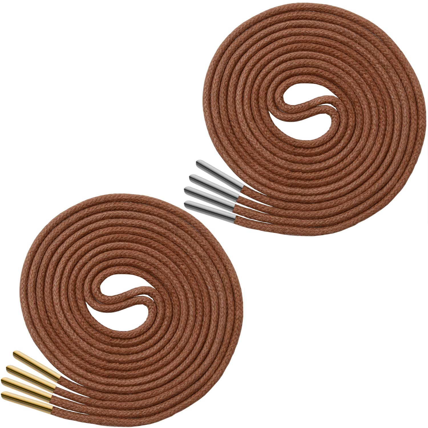 Miscly Waxed Thin Round Dress Shoelaces With Metal Tips - 3/32'' Thick (36'' Brown)