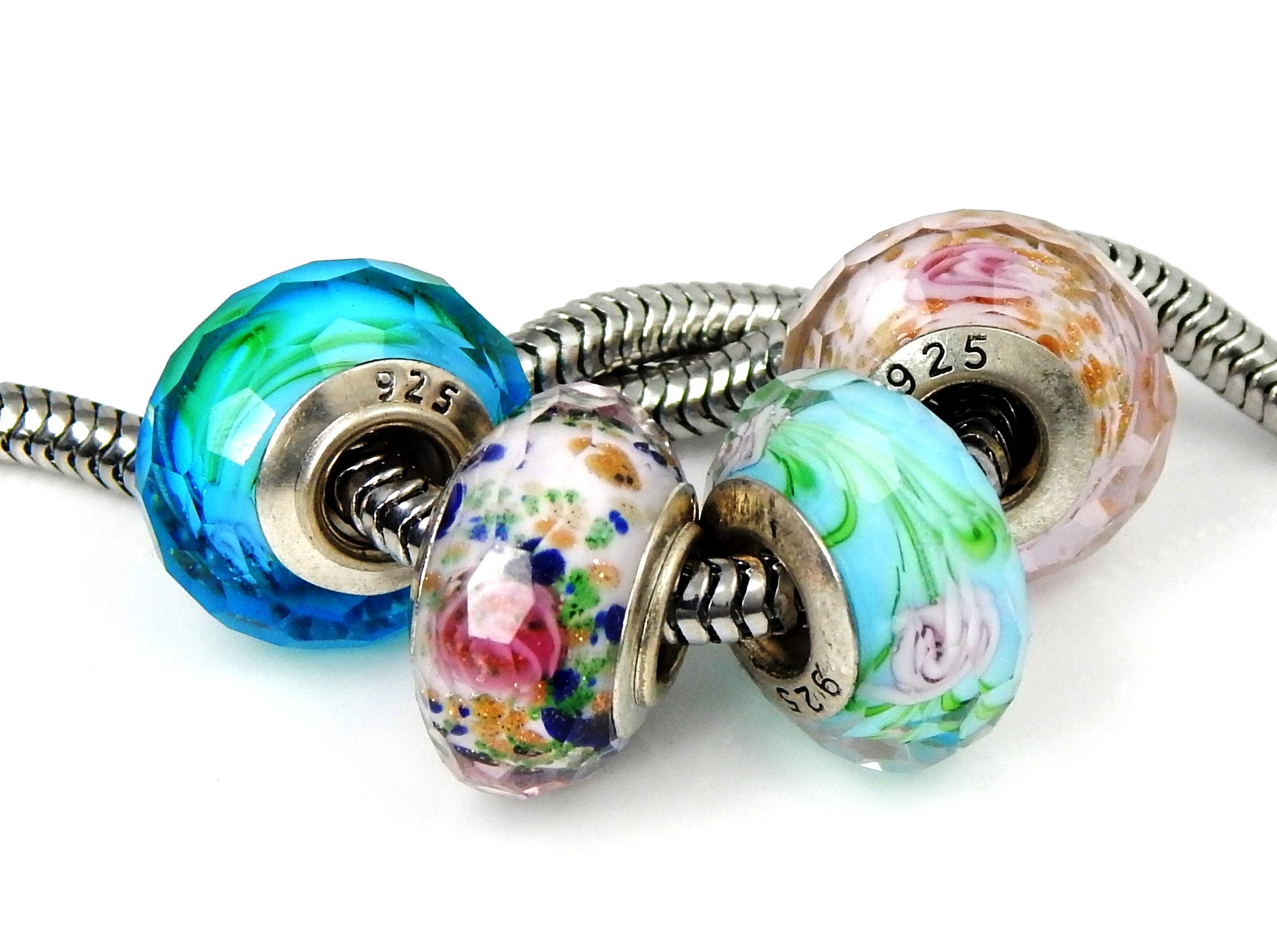 J&M Set of 4 Handmade Faceted Murano Glass Charm Bead with Roses for Charms Bracelets