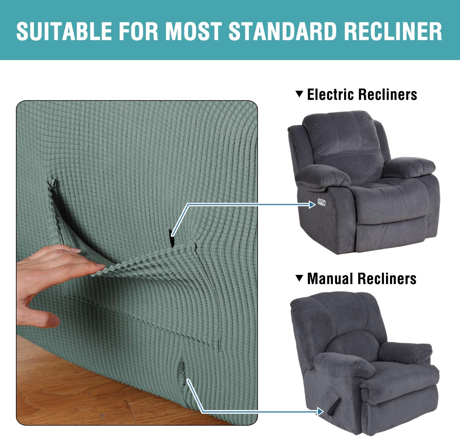 Recliner, Black H.Versailtex 1 Piece Sofa Cover High Stretch Jacquard Fabric Furniture Slipcover Stay in Place Soft Spandex Form Fit Recliner Slipcovers Skid Resistance Machine Washable