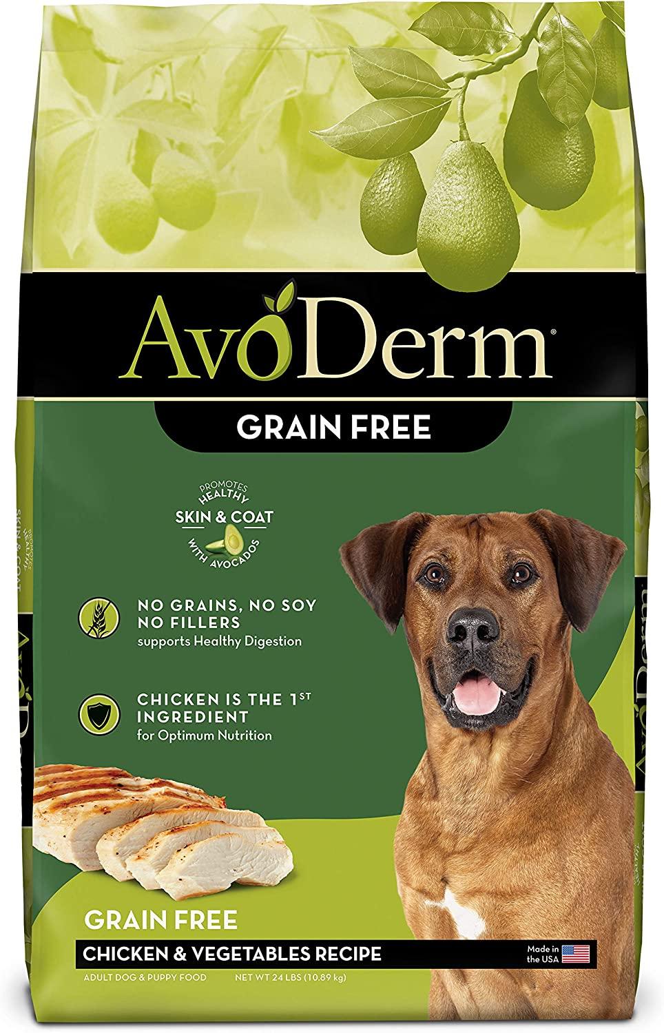 AvoDerm Natural Grain Free Chicken and Vegetables Recipe All Life Stages Dry Dog Food 24 lb