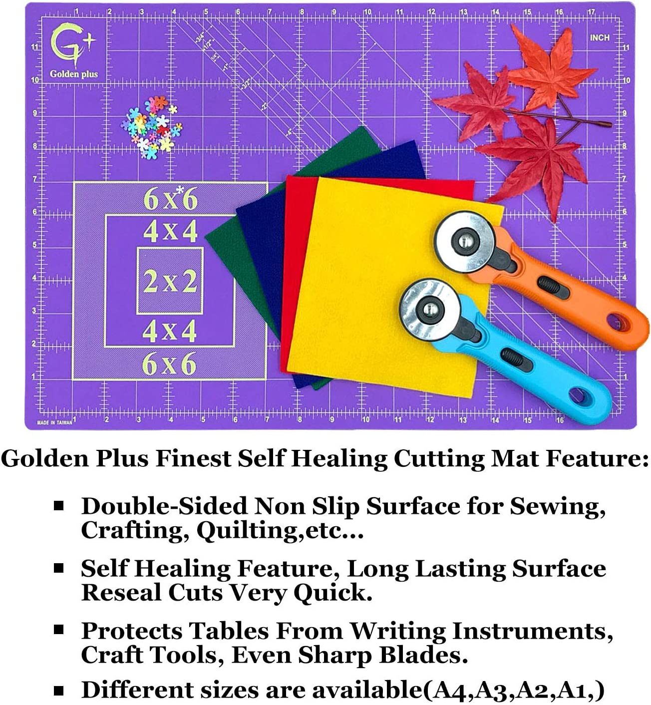 26x38Full Sewing Cafts and All Arts Projects Golden+ Eco-Friendly Quilting Cutting Mat 24x36 Inches Purple//Black ; Self-Healing Double-Sided Durable Non-Slip Cutting Mats for Quilting Fabric