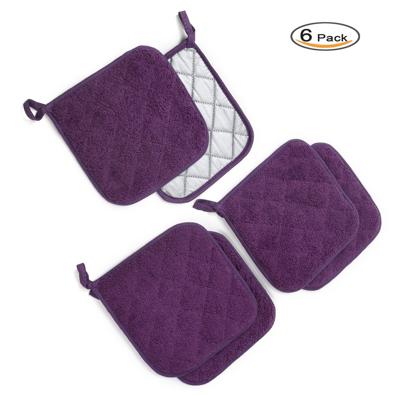 Kitchen Potholders Set (6 Pack) Heat Resistant Coaster 100% Pure Cotton Kitchen Everyday Potholders- 7''X7'' For Cooking And Baking by Jennice House (Purple)