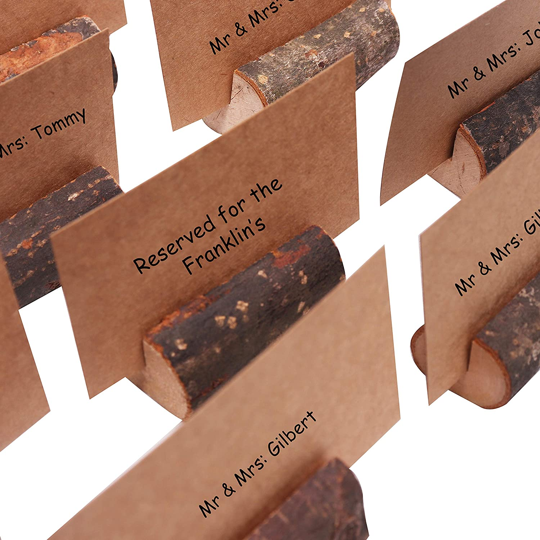Boda y otras Ocasiones Pack 20 Porta Tarjetas de Madera Rustico y Tarjetas 30 para Nombres Porta Notas Numero de Mesa para Fiesta Foto Acompa/ñante Soporte para Notas Mensaje Marcasitio