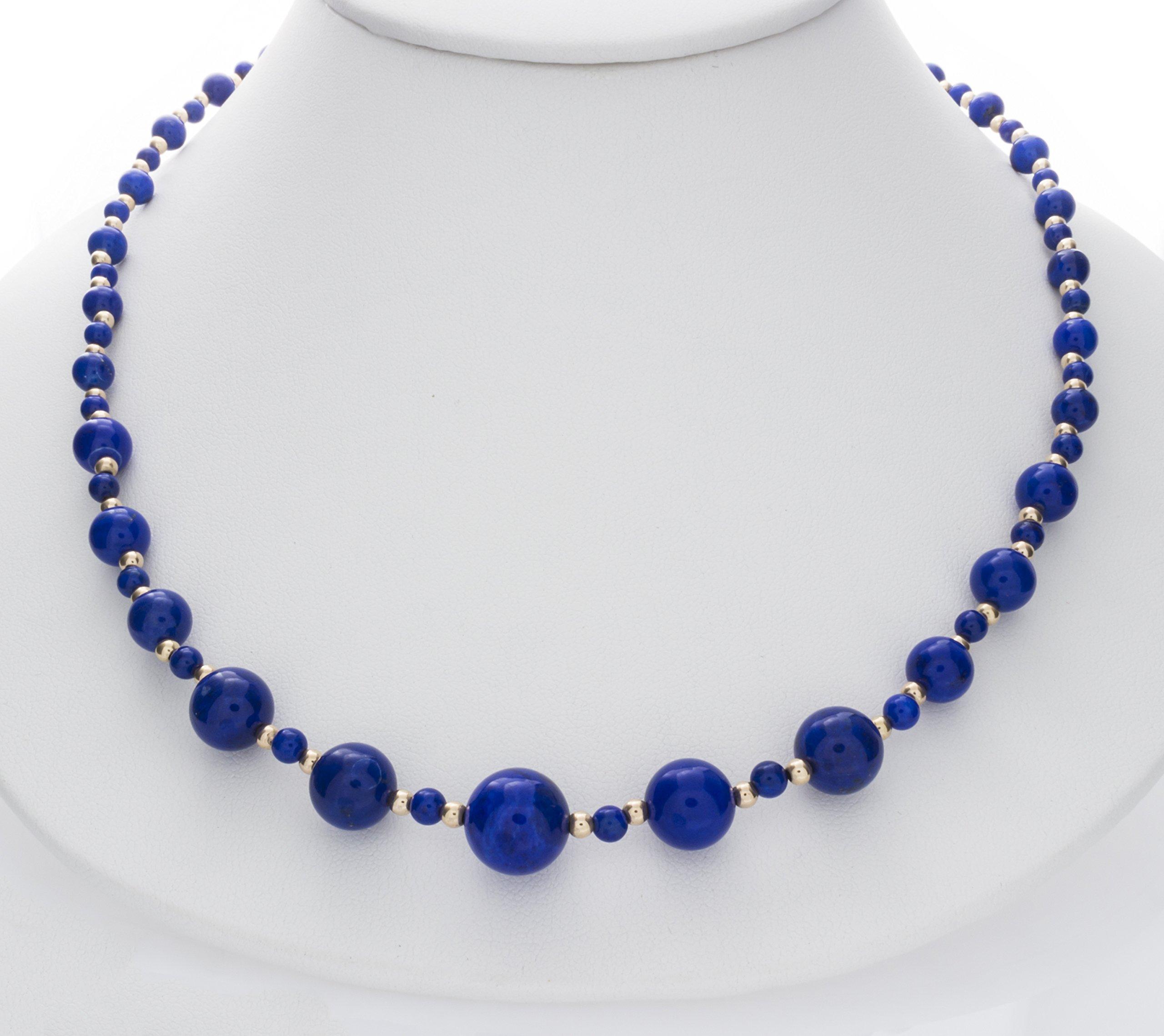ISAAC WESTMAN 14K Yellow Gold Graduated Lapis Lazuli Gemstone Beaded Necklace | 20'' Matinee Length by ISAAC WESTMAN (Image #2)