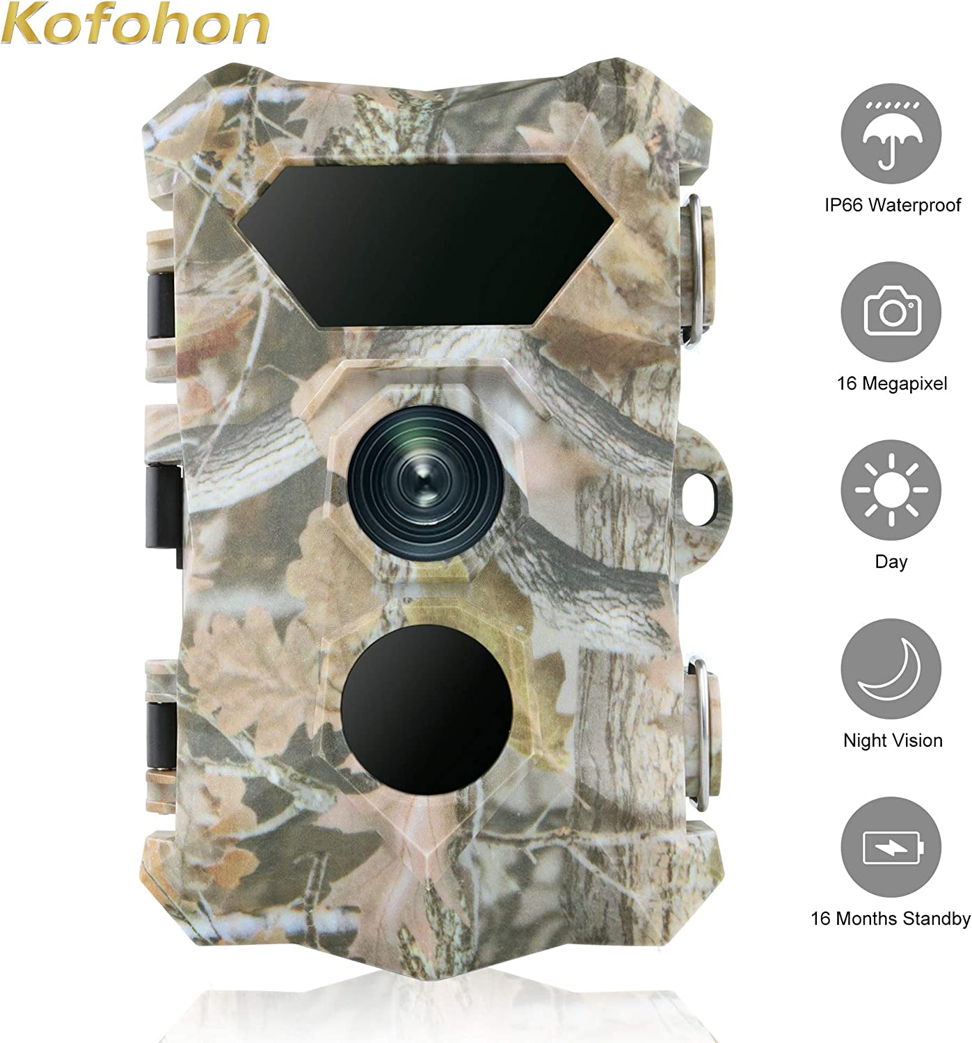 KOFOHON Trail Camera-Game Hunting Cam 16MP 1080P Waterproof 120 Detect Range Night Vision Motion Activated Wildlife Scouting Full HD Cam Monitoring Outdoor 2.4 LCD Infrared