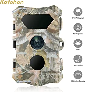 "KOFOHON Trail Camera-Game Hunting Cam 16MP/1080P Waterproof 120°Detect Range Night Vision Motion Activated Wildlife Scouting Full HD Cam Monitoring Outdoor 2.4"" LCD Infrared"