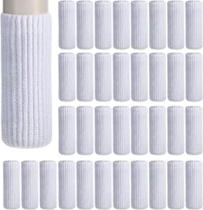 Zhehao 32 Packs Chair Leg Socks Knitted Furniture Socks Leg Floor Protectors Furniture Table Feet Covers (White)