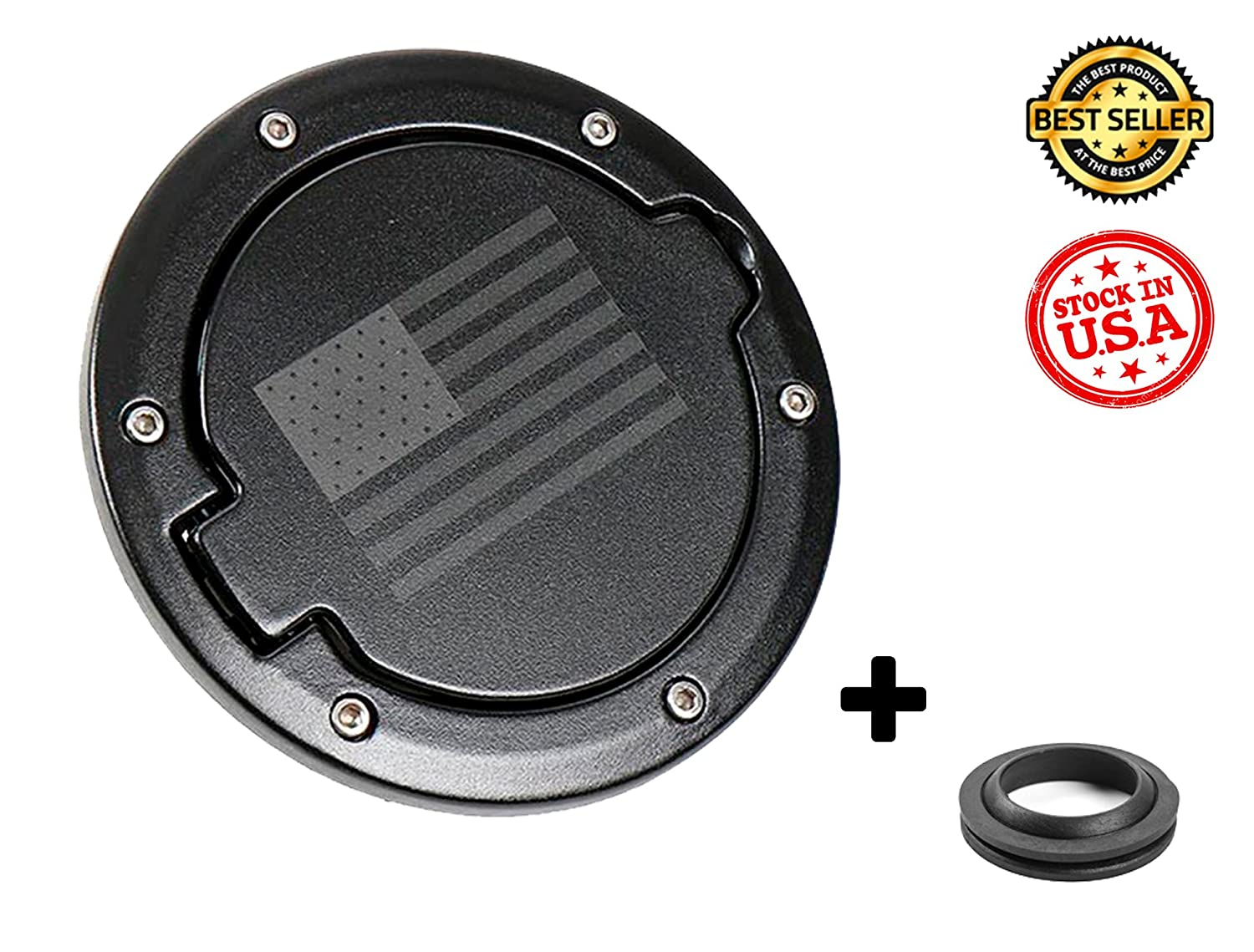 Gas Cap Cover for Jeep Wrangler 2007-2017 (BLACK WITH LOGO) GG AUTOPARTS