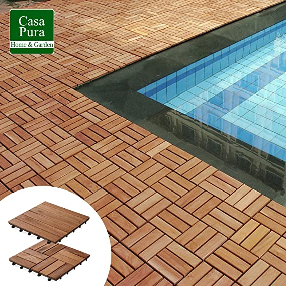 Patio Pavers | Composite Decking Flooring And Deck Tiles | Acacia Wood |  Suitable For Indoor And Outdoor Applications | Check Pattern | 12x12 Inches    Pack ...