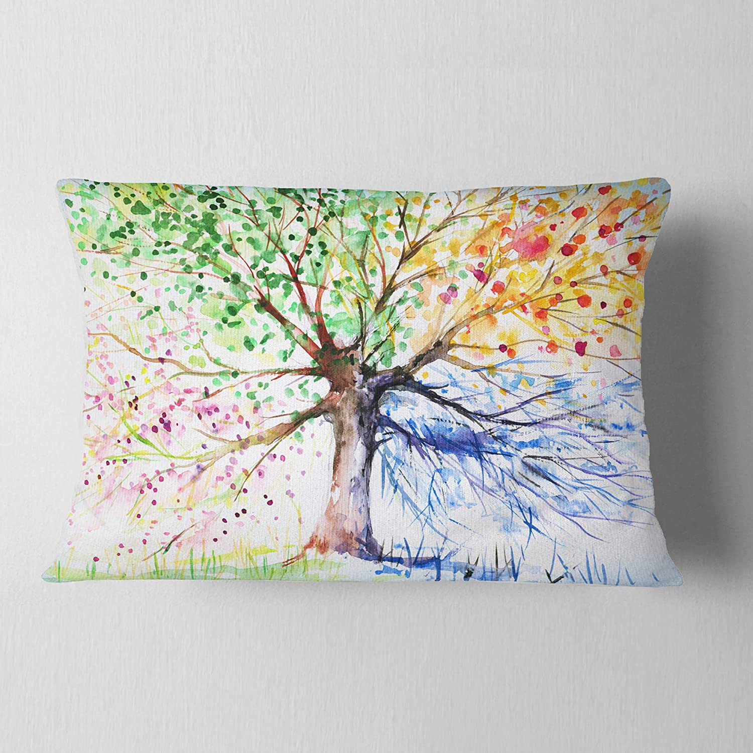 Designart CU6347-12-20 Four Seasons Tree Floral Lumbar Cushion Cover for Living Room x 20 in Insert Printed On Both Side in Sofa Throw Pillow 12 in