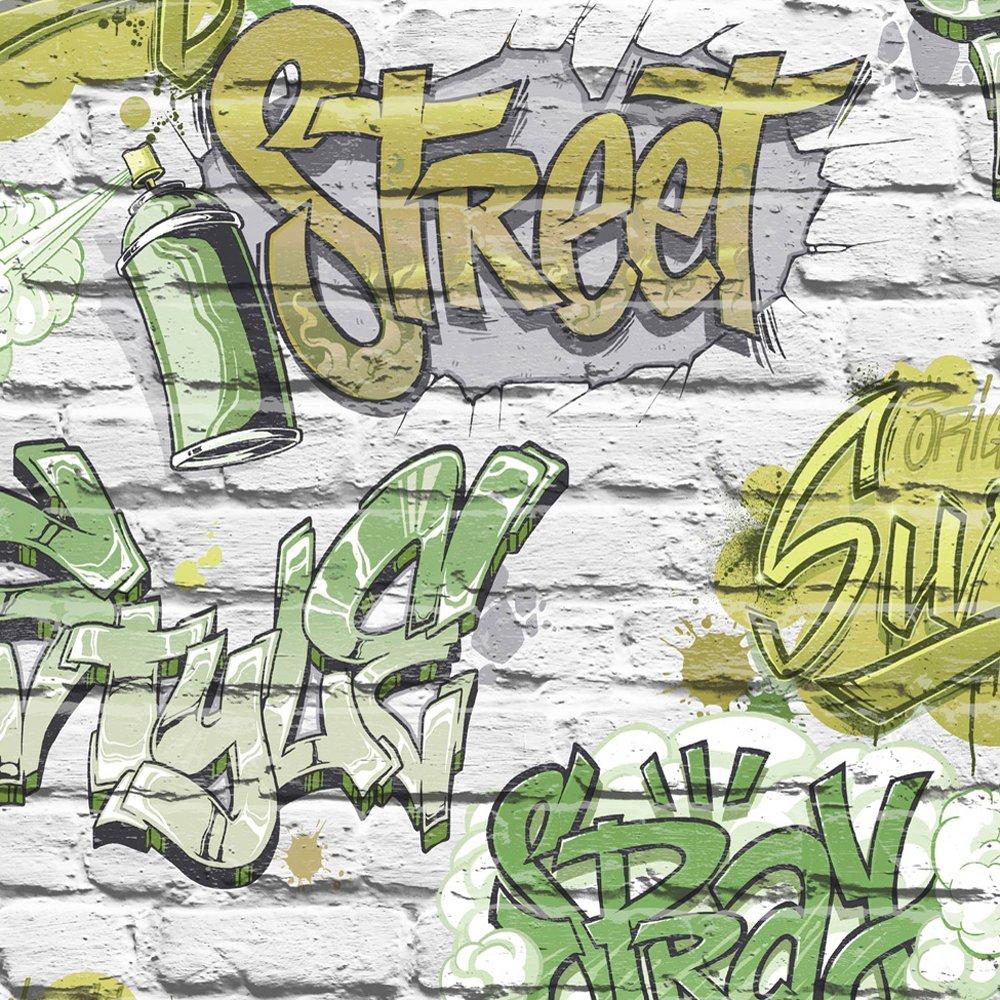 Papel pintado Muriva Street Style verde L17904