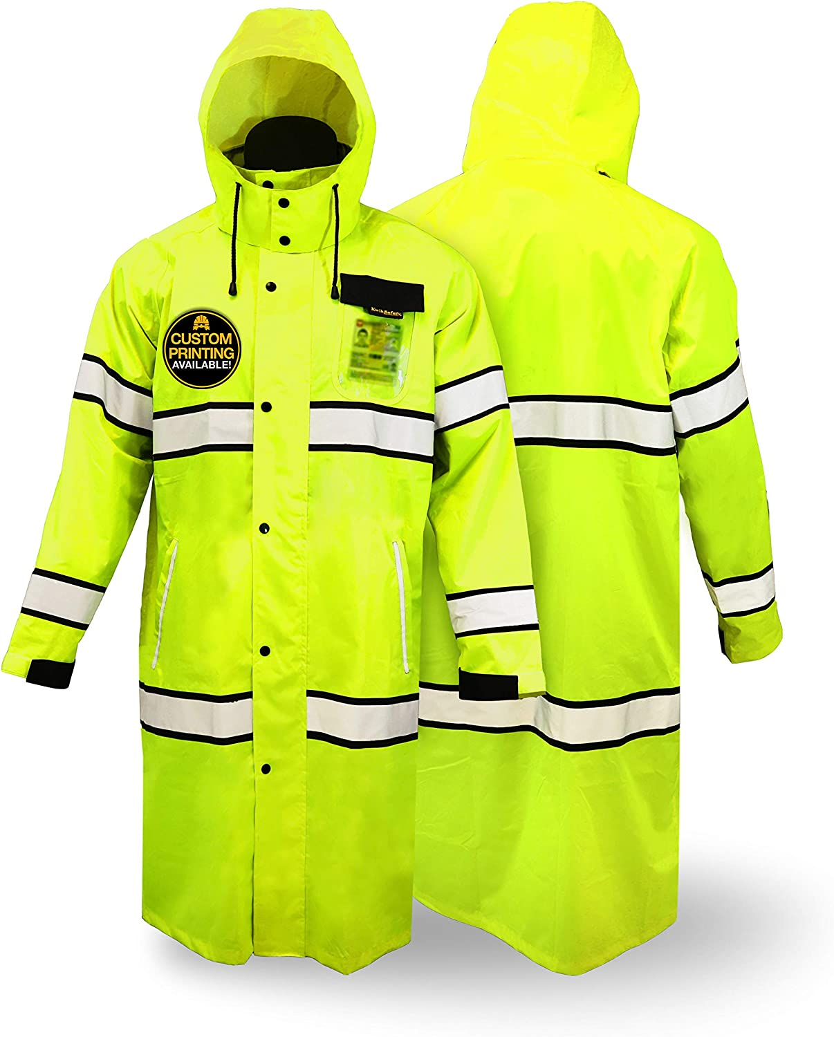 KwikSafety (Charlotte, NC) TORRENT Class 3 Safety Trench Coat | High Visibility Waterproof Windproof Safety Rain Jacket | Hi Vis Reflective ANSI Work Wear | Rain Gear Hideaway Hood Carry Bag | Small - -
