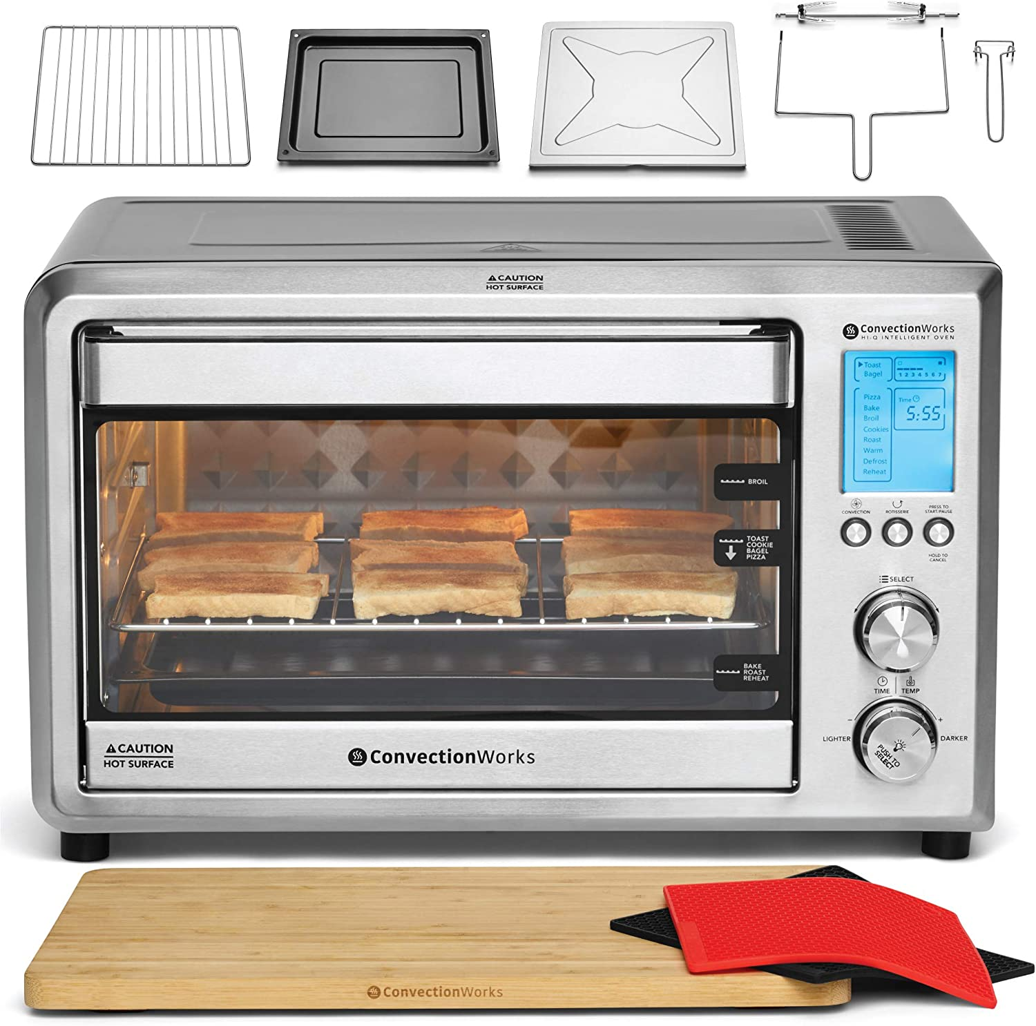ConvectionWorks Hi-Q Intelligent Countertop Oven Set, 9-Slice XL Convection Oven Toaster w Bamboo Cutting Board 10 Accessories, Rotisserie Spit Included , 1500 Watt, Stainless Steel, Teflon-free Silver