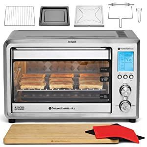 ConvectionWorks® Hi-Q Intelligent Countertop Oven Set, 9-Slice XL Convection Oven Toaster w/Bamboo Cutting Board (10 Accessories, Rotisserie & Spit Included), 1500 Watt, Stainless Steel, Teflon-free