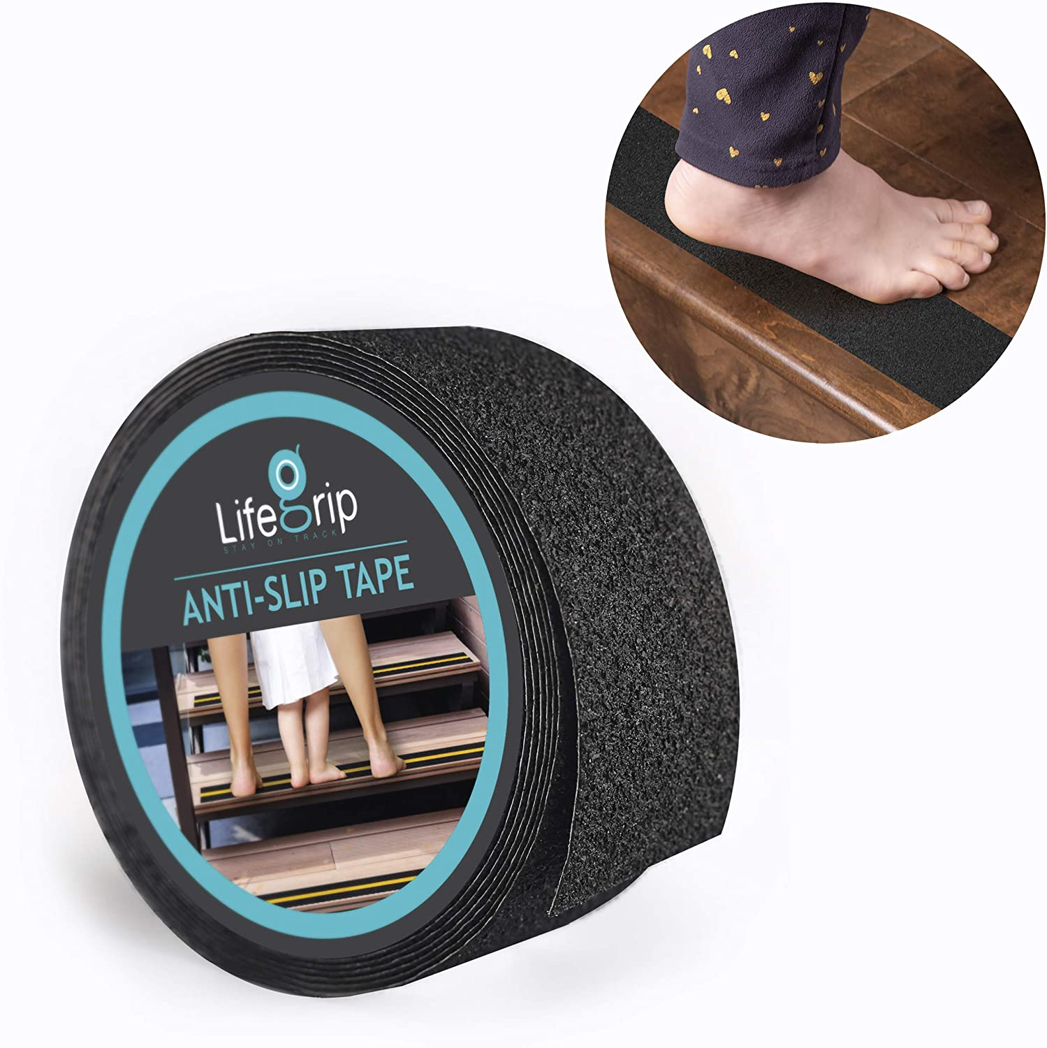 """LifeGrip Anti Slip Safety Tape, Non Slip Stair Tread, Textured Rubber Surface, Comfortable for Bare Foot, Black (2"""" X 15')"""