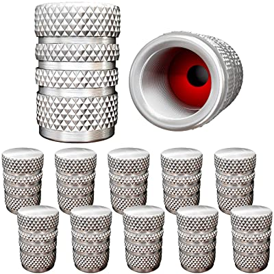 SAMIKIVA (12 Pack) Aluminum Tire Valve Stem Caps, Metal with Rubber Ring, Dust Proof Cover Universal fit for Cars, SUVs, Bike and Bicycle, Trucks, Motorcycles Metal ((12 Pack) Silver): Automotive