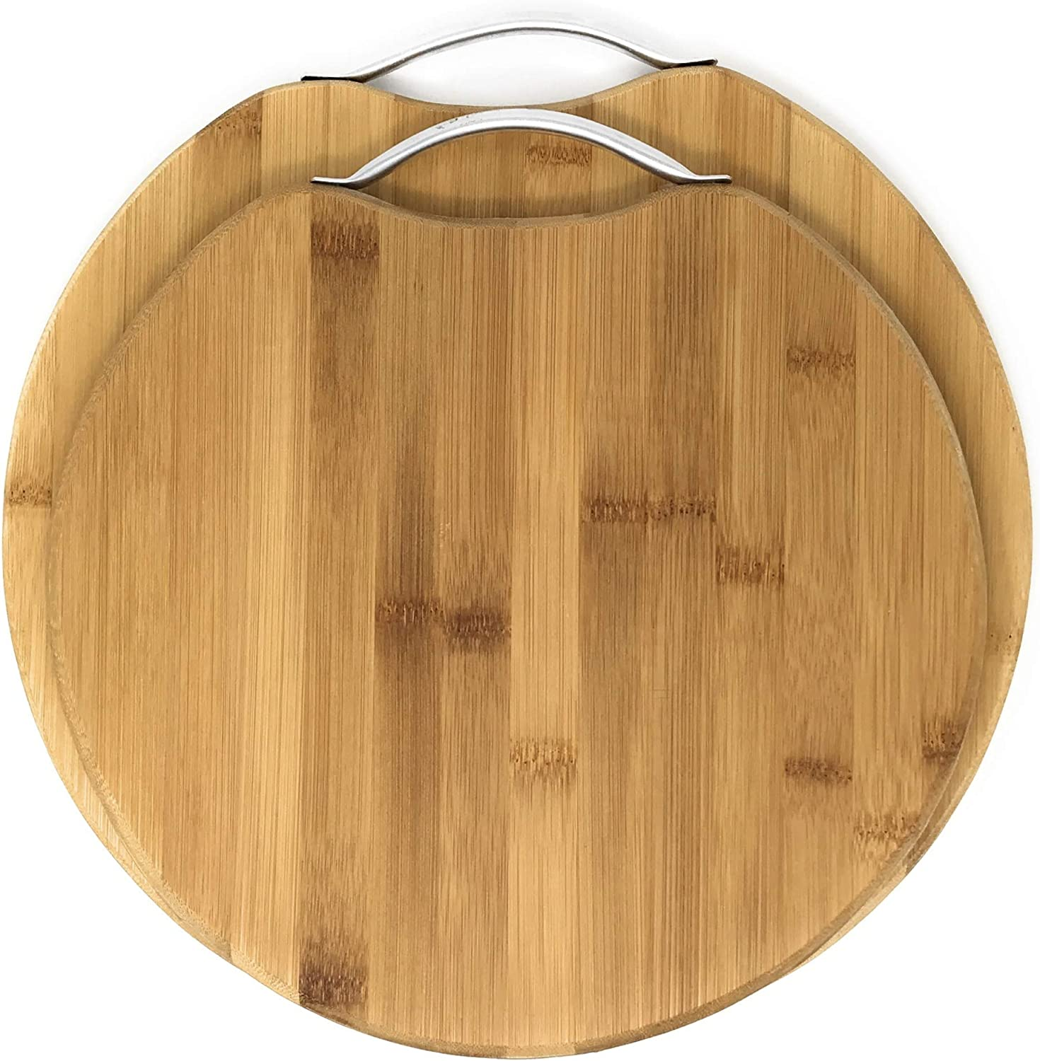 Rohi Chopping Board Round Wooden Natural Bamboo 2 Piece Set