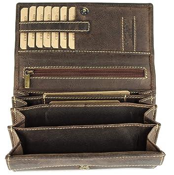 fa0ba9bbd2c19 BELLI hochwertige Vintage Leder Damen Geldbörse Portemonnaie langes großes  Portmonee Geldbeutel langes Portmonee aus weichem Leder