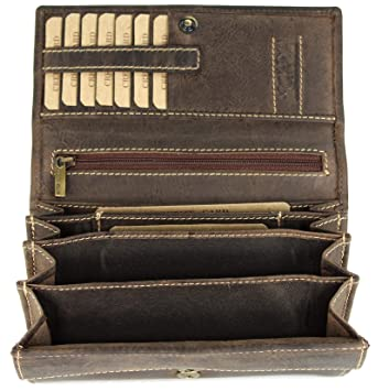 abeb00157db87c BELLI hochwertige Vintage Leder Damen Geldbörse Portemonnaie langes großes Portmonee  Geldbeutel langes Portmonee aus weichem Leder
