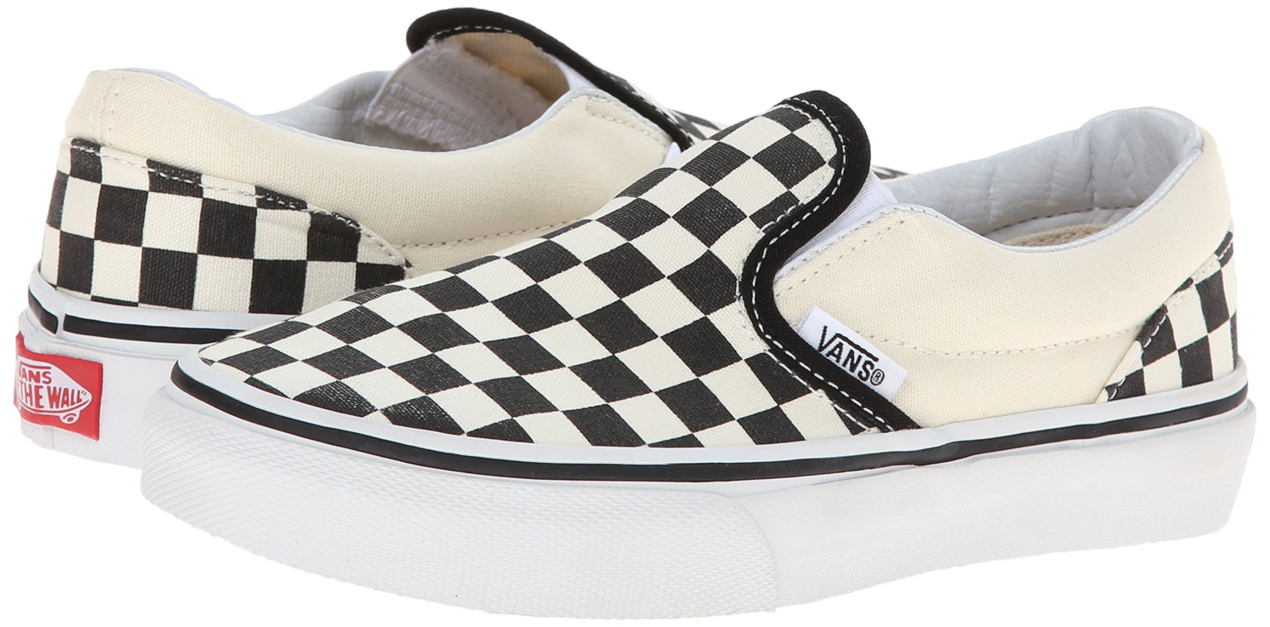 Vans Kids Classic Slip-On (Little Big Kid), ((Checkerboard) Black/White, 13 M by Vans (Image #6)