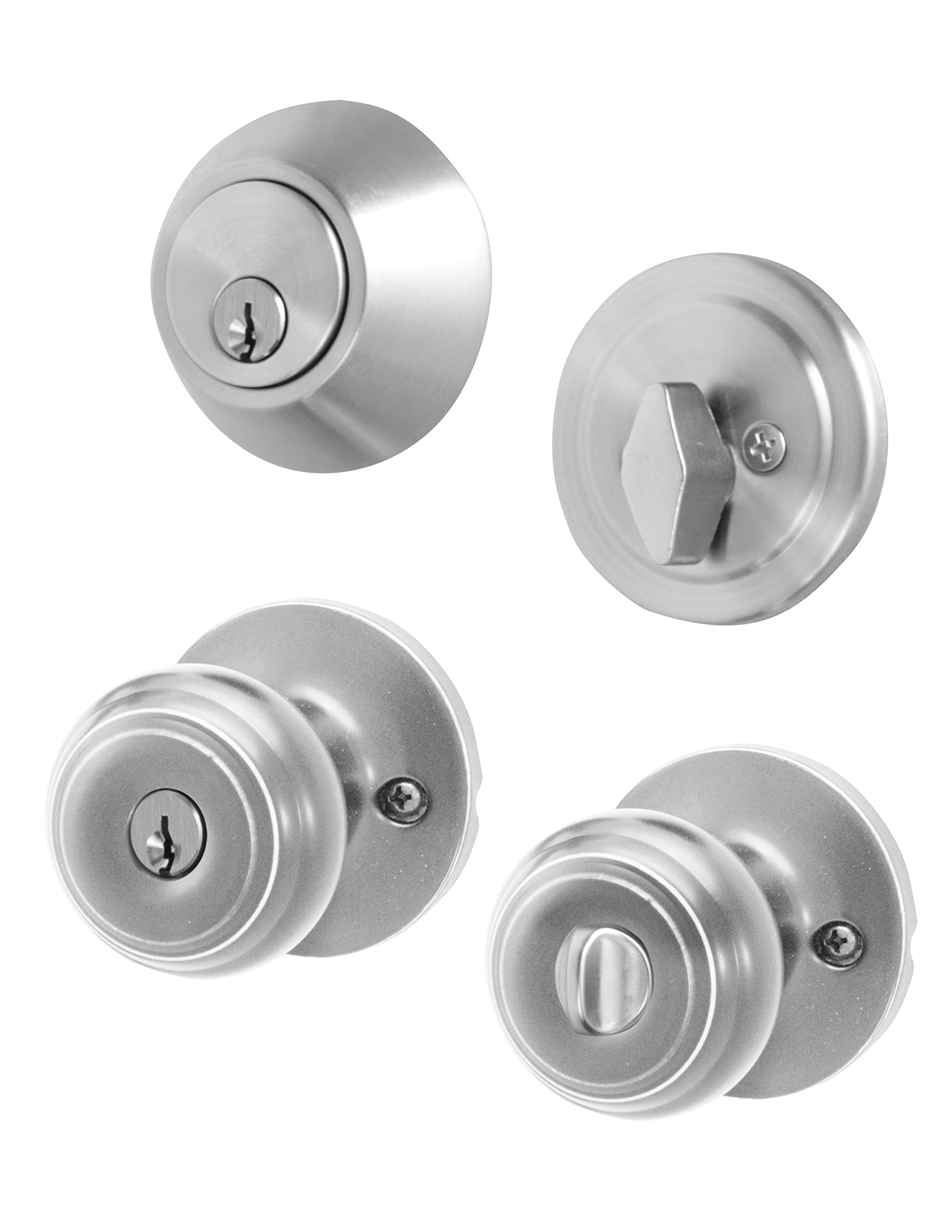 Honeywell 8101305 Classic Combo Door Knob, Satin Nickel