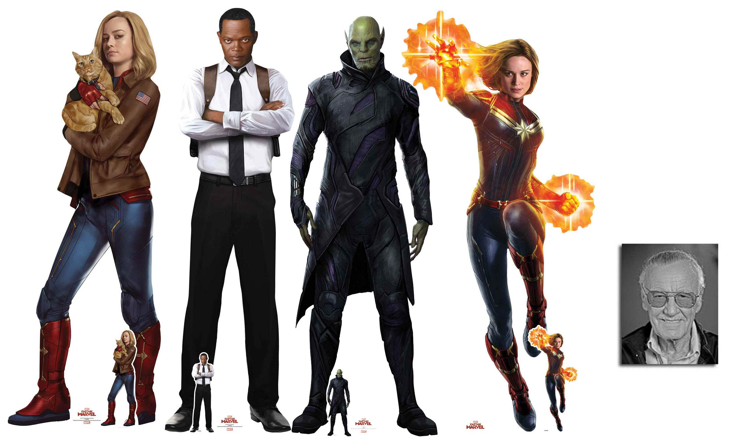 BundleZ-4-FanZ Fan Packs Captain Marvel Set of 4 Cardboard Cutouts with Carol Danvers & Goose, Young Nick Fury, Talos and Captain Marvel Includes Free Mini Cutouts and 8x10 Photo