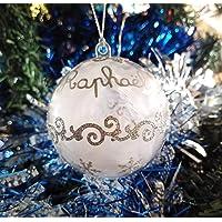Boule de Noël à personnaliser, Prénom au choix argenté