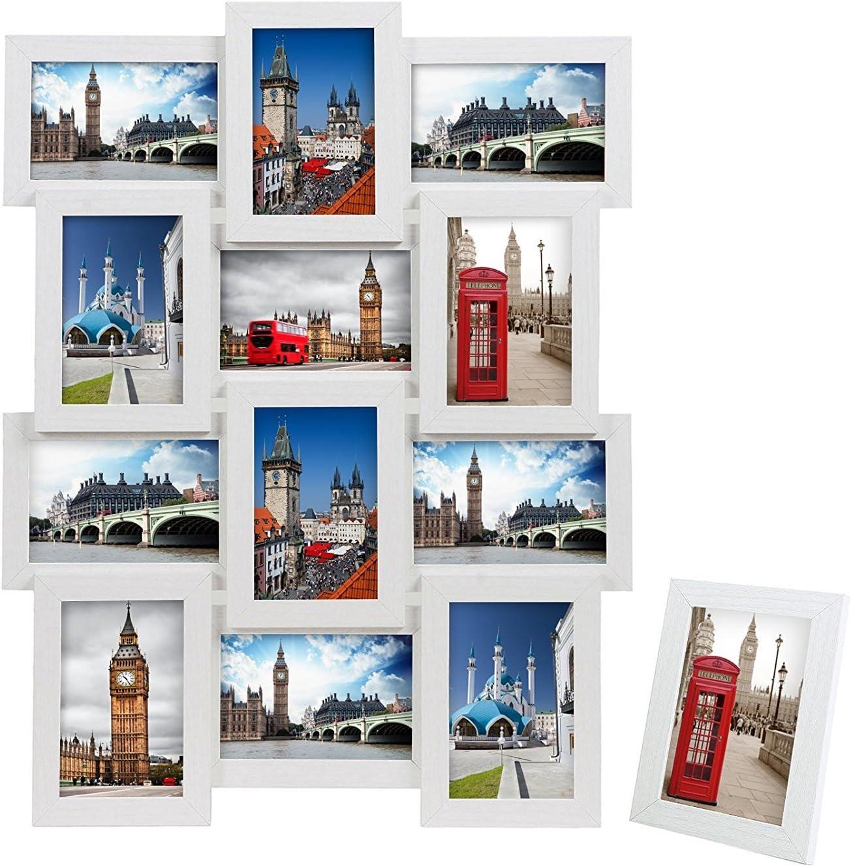 SONGMICS Marco de Fotos Collage para 12 Fotos de 10 x 15 cm + 1 x Marco de Foto Individual, para Galería de Fotos, Requiere Ensamblaje, MDF Blanco RPF112W