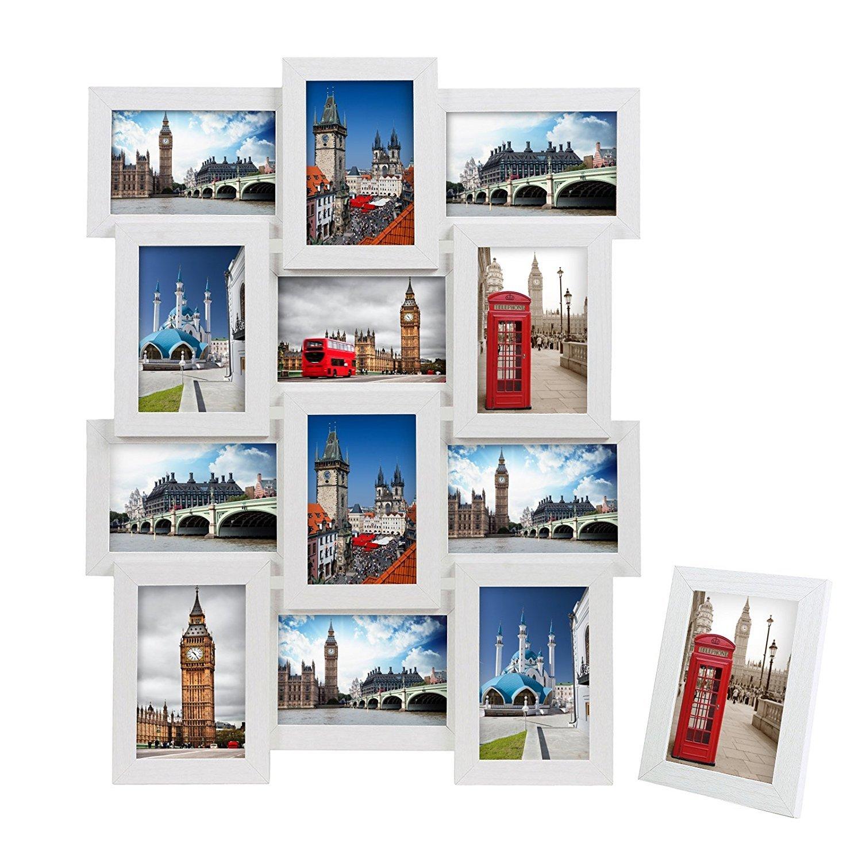 SONGMICS Cadre Photo Pêle-mêle Mural Capacité DE 12 Photos Blanc +1 Cadre Photo sur Table Offert MDF RPF112W product image